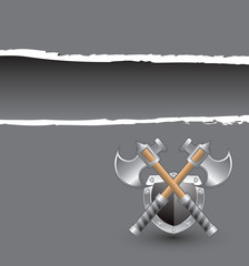 crossed axes gray ripped banner