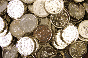 Pile of rupee coins for backgrounds