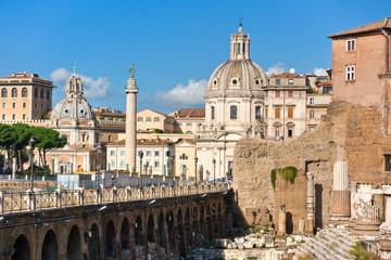 The Trajan Column, Forum, near Piazza Venice, Rome, Italy.