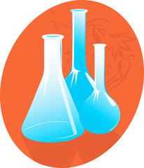 Three laboratory bottles in red background