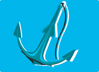 An anchor with chain in blue