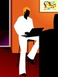 Illustration of a man working in computer