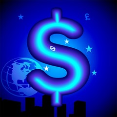Illustration of blue dollar symbol in a blue design