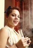 A young woman smoking medical marijuana poster