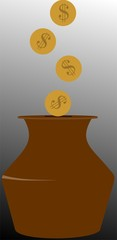 Illustration of dollar coins falling to a pot