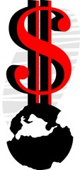 Illustration of red dollar symbol and earth