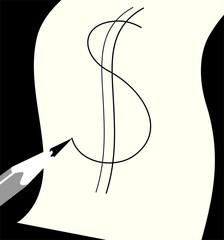 Illustration of pencil drawing dollar