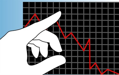 Illustration of graph and hand