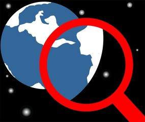 Illustration of magnifying glass and earth
