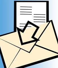 Illustration of envelope and document