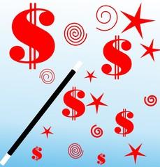 Illustration of stars and dollars