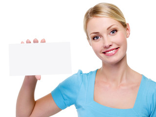 beautiful  woman holding the blank business card