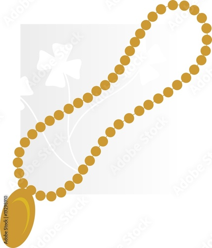 Illustration of golden necklace with diamond pendant