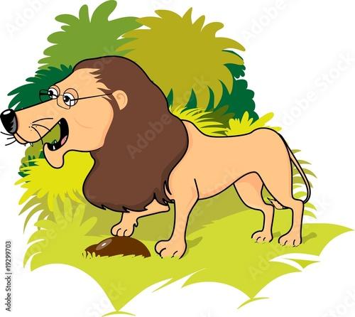 Illustration of a cartoon lion