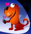 Illustration of a cartoon dog with mobile phone