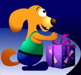 Illustration of a cute cartoon dog with gift box