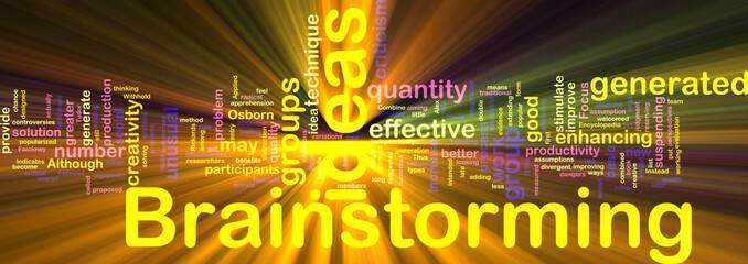 Brainstorming word cloud glowing