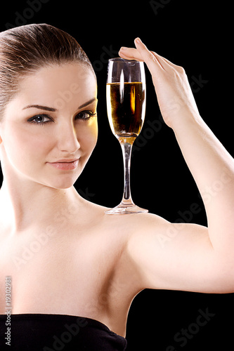Beautiful woman with champagne glass