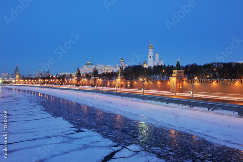 Russia. Moscow Kremlin view across Moskva river at winter night