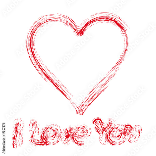 Written declaration of love by red paint on white wall, vector