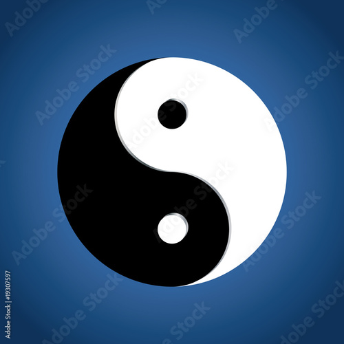 Ying Yang Symbol on blue background, vector
