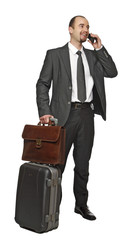 business man travel and use mobile