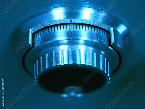 Closeup of a Safe Vault Combination Spinner - Blue Toned