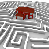 Red Home in Maze - Find Path to Ownership poster