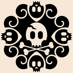 abstract skull and crossbones decoration
