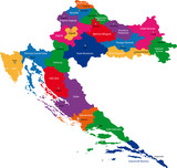 Map of administrative divisions of Republic of Croatia poster