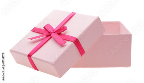 open pink box isolated on white