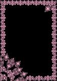 pink openwork frame on black poster