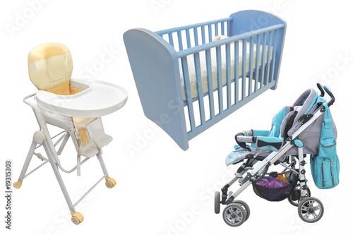 Child's chair, bed and perambulator