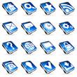 Set of 16 blue web icons.