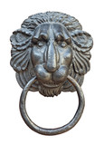 Medieval door knocker, iron lion head cutout poster