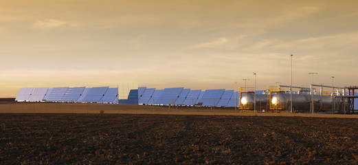 panoramic view of solar heliostats in Andalusia, Spain