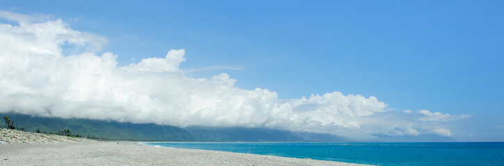 Beautiful seacoast and blue sky in east taiwan
