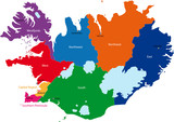 Map of administrative divisions of Republic of Iceland poster