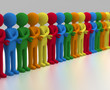 3D render of a chain of multicolored people join crossed arm