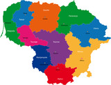 Map of administrative divisions of Republic of Lithuania poster