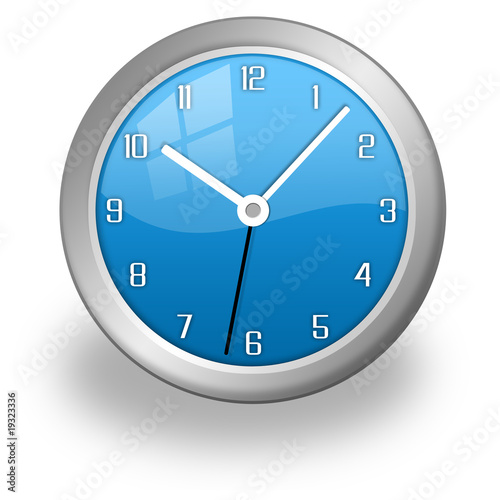 blue and glass clock