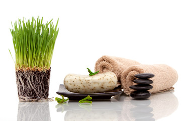 Spa towel, soap and wheatgrass