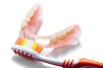 denture and toothbrush