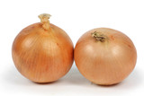two onions closeup white background