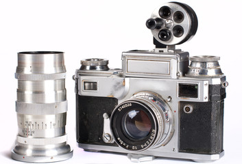 Retro photocamera with interchangeable lens