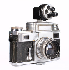 Retro photocamera with portrait lens