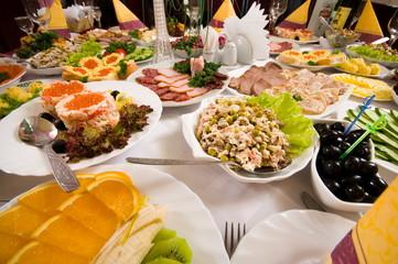 Banquet in cafe.