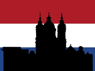 silhouette of Amsterdam on Netherlands flag background