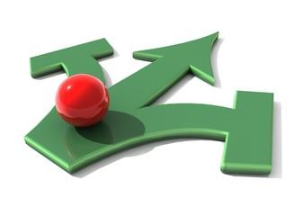 Richtige Entscheidung treffen rote kugel grüner pfeil