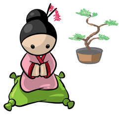 Japanese Woman With Banzai Tree Background